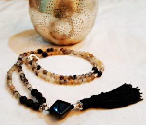 Black and Grey Agate Tassel Necklace