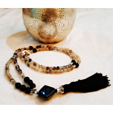 NEW**** Long Silver tone Beaded Tassel Necklace with Black and Grey Agate Gemstones
