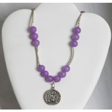 SALE ITEM-Org Price $46.00-50% OFF ! Large Lavender Alabaster Stones Necklace