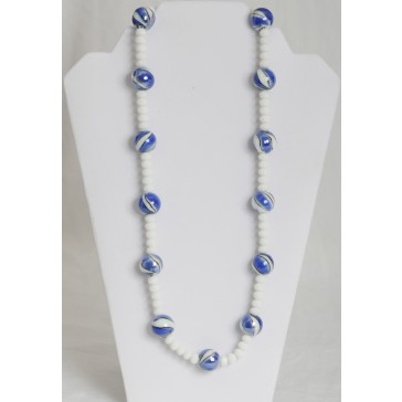 SALE ITEM-Org Price $36.00-75% OFF  Medium Crystal beads in white with large Blue and black alabaster stone Necklace
