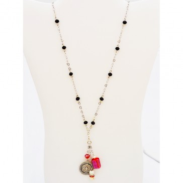 SALE 30% off !****Black Swan Necklace with Removable Charm - Black Agate Long silver Necklace