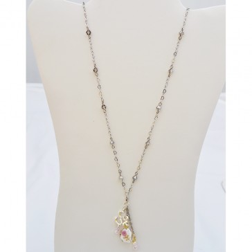 SALE 60% off !****Bubbly Champagne Necklace with Removable Charms- Long Silver Necklace with Crystals