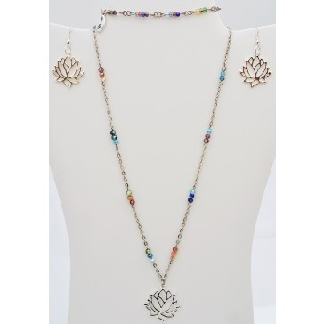 Lotus Blossom- Multicolored Crystal Necklace with Silver Lotus Flower Charm