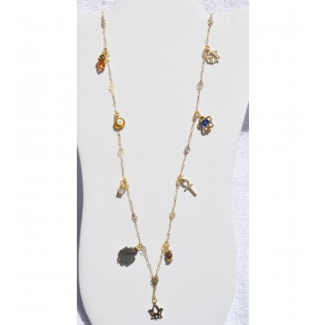 NEW**** Long Gold Necklace with multiple Charms and Crystals
