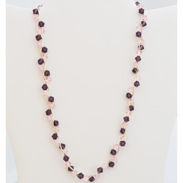 "SALE**** Silver Pink and Lavender Crystal Necklace - ""Pink Mist Candy"""