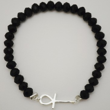 SALE ** 35% Off Original Price Of $24 - Black Crystal Bracelet With Silver Ankh Charm