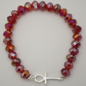 SALE ** 35% Off Original Price Of $24 - Red Crystal Bracelet With Ankh Charm