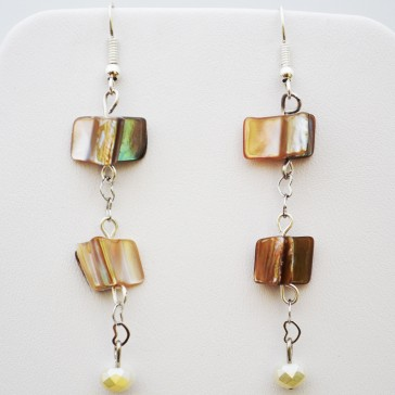 Silver with Cream colored Mother of Pearl Hanging Earrings