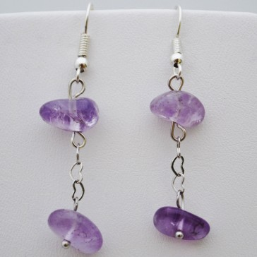 Silver Heart Chain Earrings in Lavender Gemstones