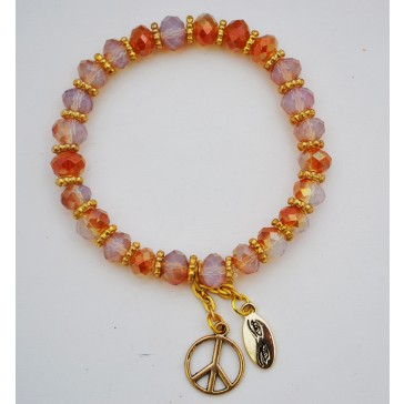 SALE 50% off ! - Peace is Golden Crystal Charm Bracelet