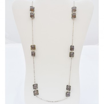 Naturally Natural Grey Agate Gemstone Necklace