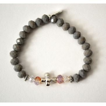 NEW****Grey and Clear Crystal Cross Charm Bracelet