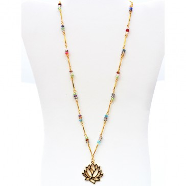 Lotus Blossom - Multicolored Crystal Necklace with Gold Lotus Flower Charm