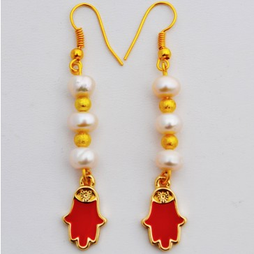 Sale 25% Off !! ****Pearly Hands - Gold Tone Pearl Drop Earrings with Red Fatima Hand Charm