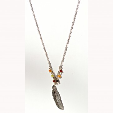 NEW**** Silver Feather Charm with Multicolored Crystal Necklace