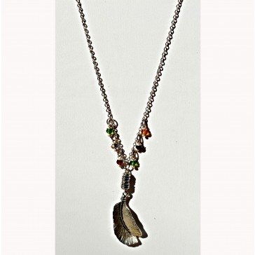 NEW**** Silver Flat Feather Charm with Multicolored Crystal Necklace