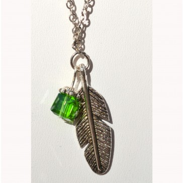 NEW**** Silver Feather Charm with Crystal Necklace