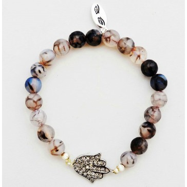 Shades of Grey - Grey-Black Agate Gemstone Bracelet