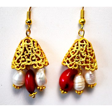 NEW****Gold tone Earrings with Pearls and Red Coral