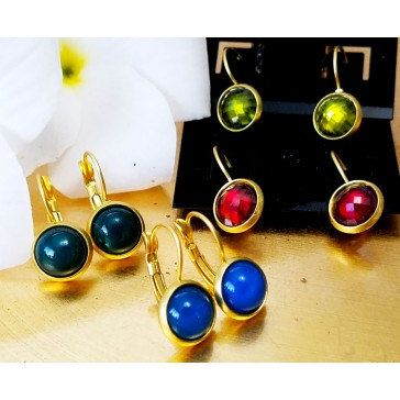 NEW****Gold tone Stud Earrings in Blue, Green and Rust Agate Gemstones