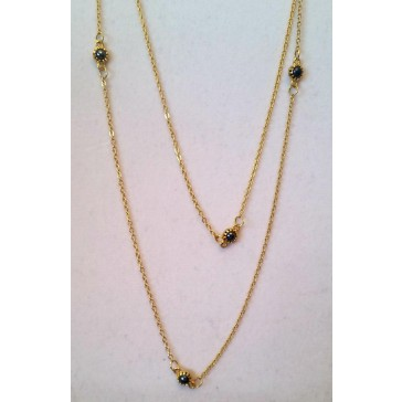NEW**** Long Thin Gold Necklace with Charcoal Stones