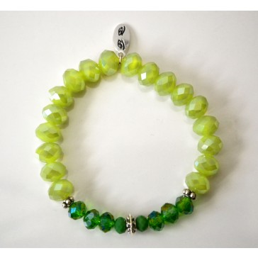 NEW****Green Crystal  and Silver Charm Bracelet
