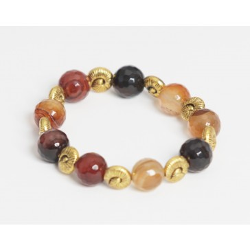 Chocolate Brown Agate Gold Bracelet