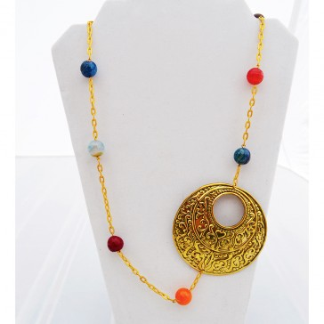 Clearance Sale **** 50% of Original price of $52 - Multicolored Agate Gemstone Golden Necklace