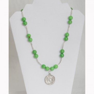 SALE ITEM-ORG PRICE $46.00-50% OFF - Large Green Alabaster Stones with Silver colored Coin Necklace (Bracelet sold separately)