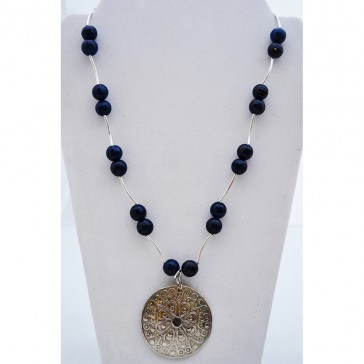 Clearance Sale **** - 50% of Original price of $46 - Royalty Dark Blue Agate Necklace