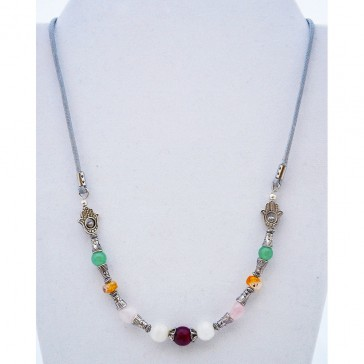 SALE ** 50 % - Attracting Love Necklace with Agate, Garnet, Jade and Quartz Gemstones