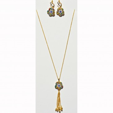 NEW**** Gold Multi Colored Flower Crystal and Murano Necklace