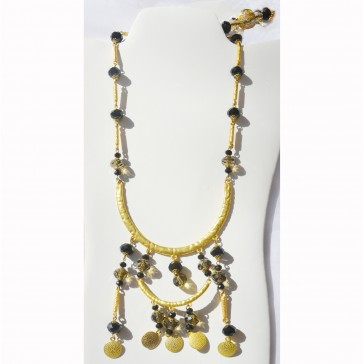 SALE*** 20% off original price - Black and Smoke colored Crystals in a gold tone Necklace with hanging piece for the back