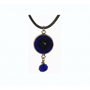 NEW**** Dark Blue Gold Framed Crystal Necklace