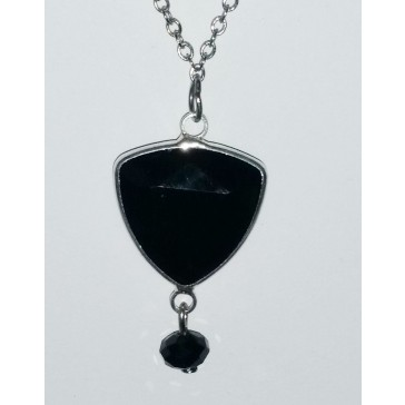 NEW**** Silver Toned Black Framed Crystal Necklace