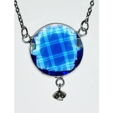 NEW**** Silver Large Light Blue Framed Crystal Necklace