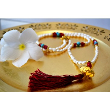 NEW**** Long Gold tone Tassel Necklace with Pearls, Red Coral  and Turquoise Gemstones