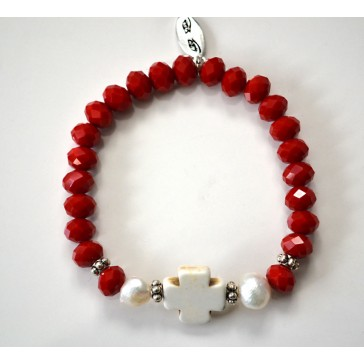 NEW****Red Crystal and Cross Charm Bracelet