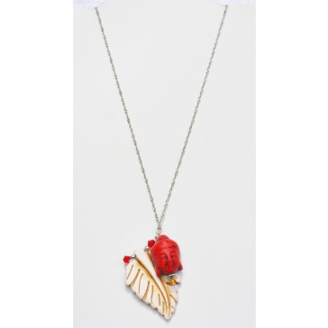 NEW**** Red Buddha with Bone White Feather Charm Necklace