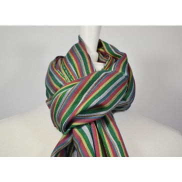 Medium Striped Fringed Scarf