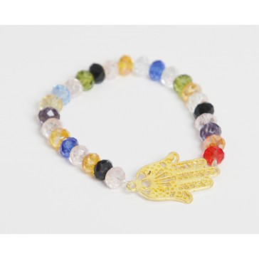 SALE*** 30% OFF original price of $22 - Small Multicolored Crystals  with Gold Fatima Hand Bracelet (Necklace sold separately)