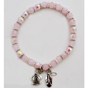 NEW****Pretty in Pink Crystal Charm Bracelet