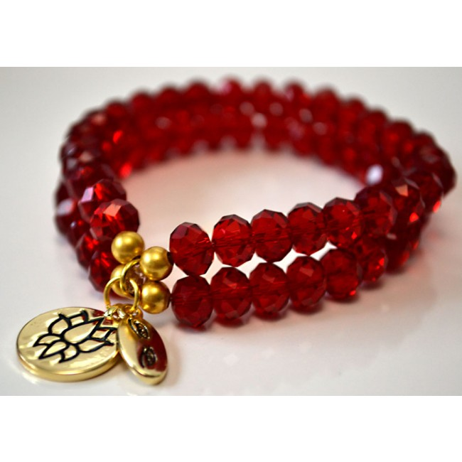 Red Crystal Bracelet Double Trouble Zoom