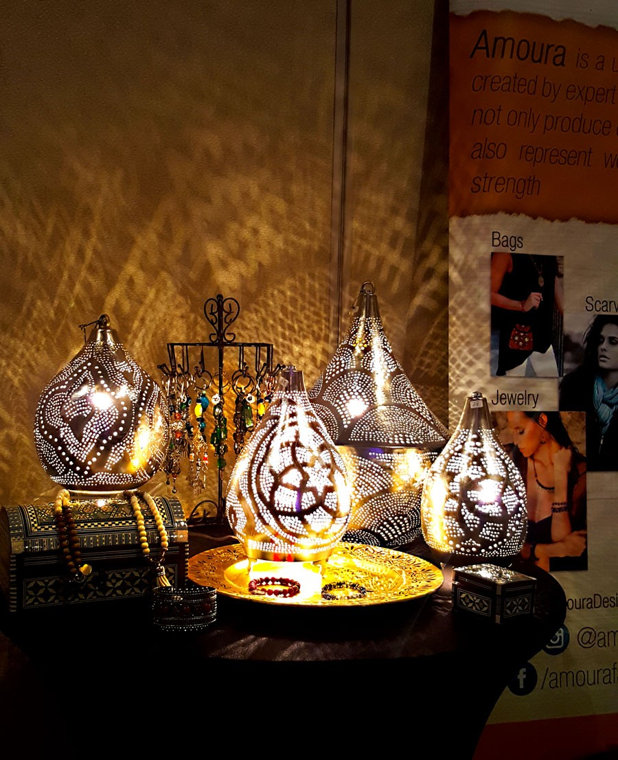 & Display of different lamp designs and sizes