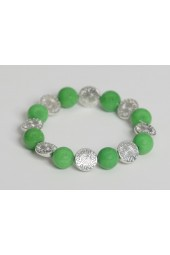 SALE ITEM-Org Price $28.00-50% OFF Green Alabaster Stones with silver colored Ra spacers stretch Bracelet (Necklace sold separately)