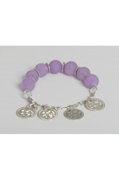 SALE ITEM-Org Price $28.00 - 50% OFF  Large Lavender Alabaster Stones with Hanging Silver colored Coin charms Bracelet (Necklace sold separately)