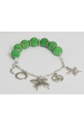 SALE ITEM-Org Price $28.00- 50% OFF - Large Green Alabaster Stones with Hanging Silver colored charms Bracelet (Necklace sold separately)