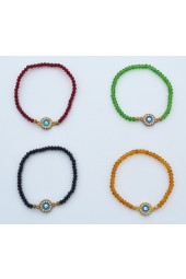SALE**** 30%off Small Crystals  with Gold colored Eye stretch Bracelets