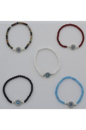 SALE **** 30% Small Agate Stones  with Silver colored Eye stretch Bracelets