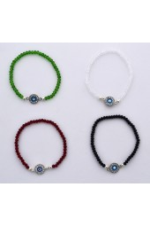 SALE **** 30%off - Small Crystal Stones with Silver colored Eye stretch Bracelets